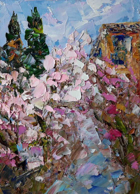 Sakura Blossom painting, Original art, Impasto Art, Sakura artwork, Original Artwork Abstract Painting, Oil Painting Small Painting