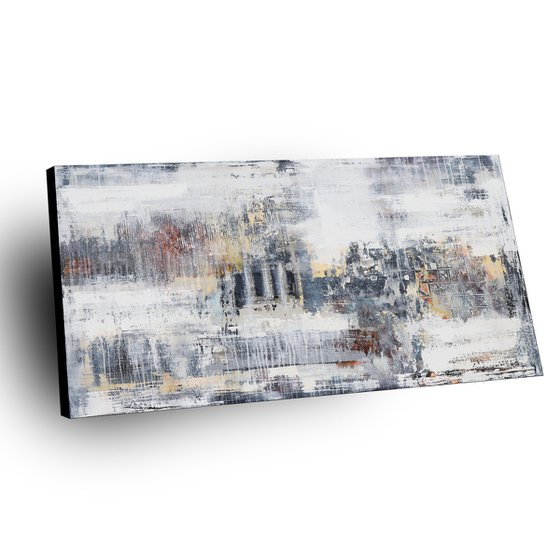 METROPOLIS - ABSTRACT ACRYLIC PAINTING TEXTURED * READY TO HANG * LARGE FORMAT
