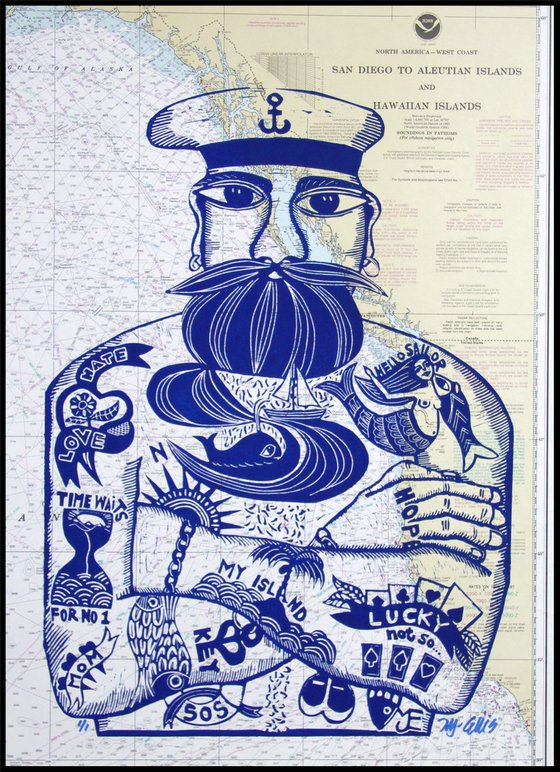 Sailor, linocut on seachart over San Diego