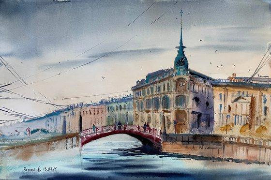 The house near the Red Bridge. Saint-Petersburg.
