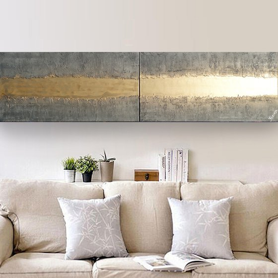 gold stripe & steel long painting A719 50x200x2 cm decor Vertical original abstract art Large paintings stretched canvas acrylic art industrial metallic textured wall art
