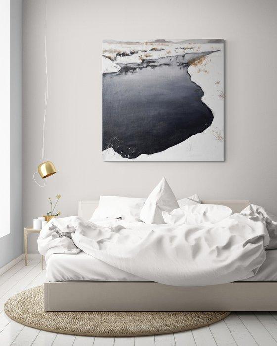 FROZEN RIVER- blue white winter snow large square landscape wall decor gift 80x80