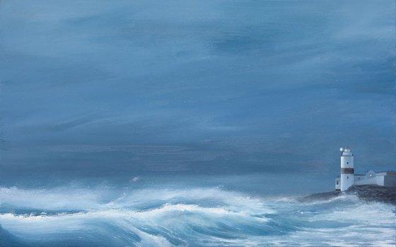 Cloch Lighthouse Storm - Scottish Seascape in Blue