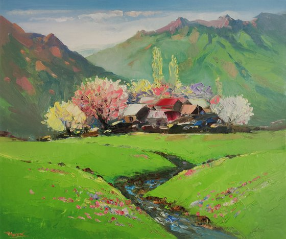 Landscpae - spring (60x50cm oil painting, ready to hang)