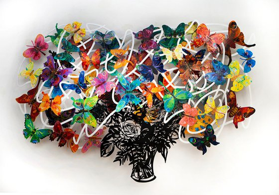 Colorful Butterfly Wall Sculpture - Cut out Metal