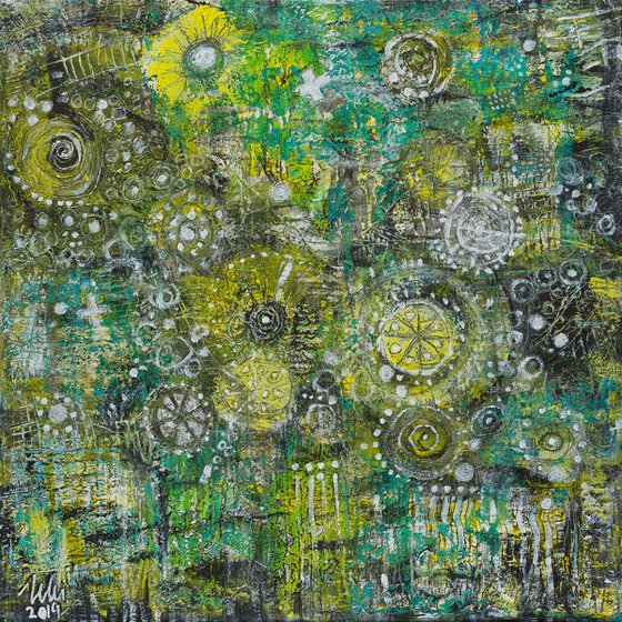 Jacob's ladder falling down into my garden - abstract painting