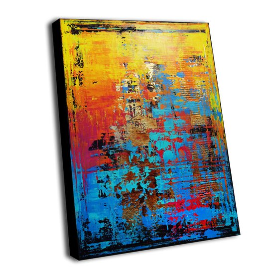 JOY OF LIFE - 60 x 80 CMS - ABSTRACT TEXTURED ARTWORK ON CANVAS * VIBRANT COLORS