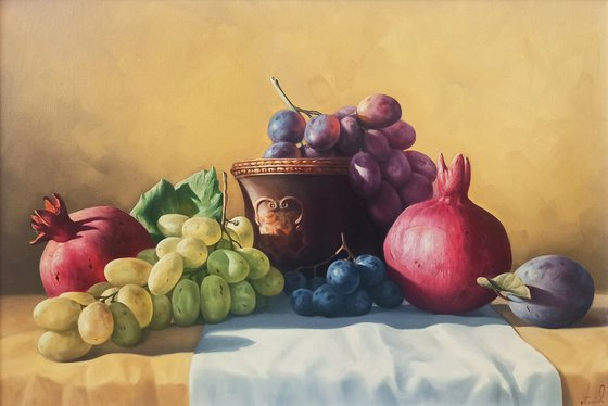 Still life with colorful fruits-2 (40x60cm, oil painting, ready to hang)