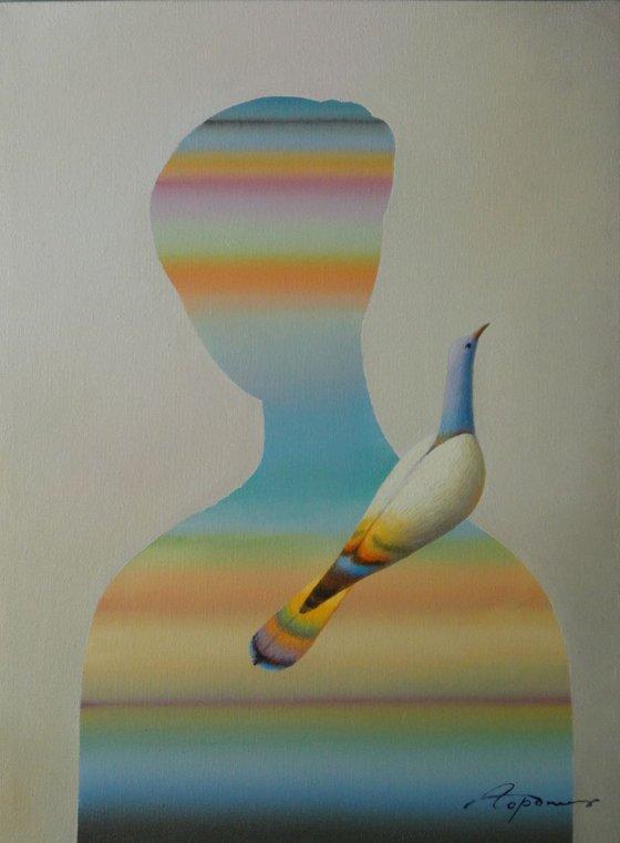 "Singing Bird and Woman 16""x12"""
