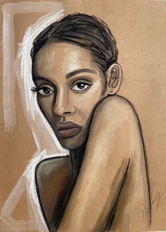 """""""In her eyes"""" pastel woman portrait 39x54cm"""