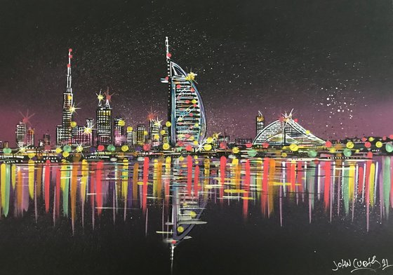Dubai Skyline at night -