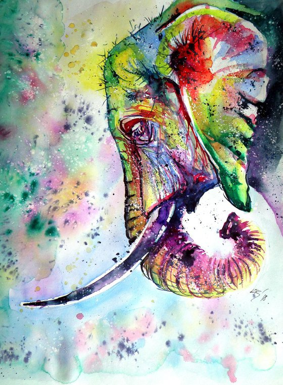Colourful elephant dreaming- perfect gift