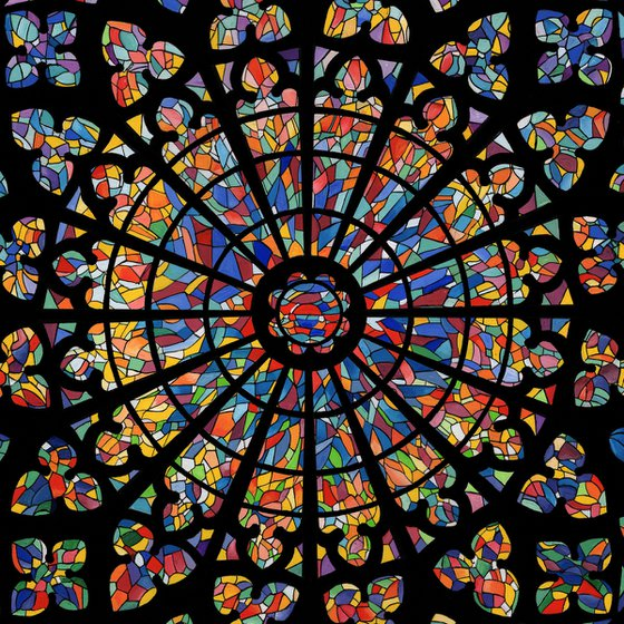 St Malo Cathedral Rose Window - Framed Acrylic Gouache Painting