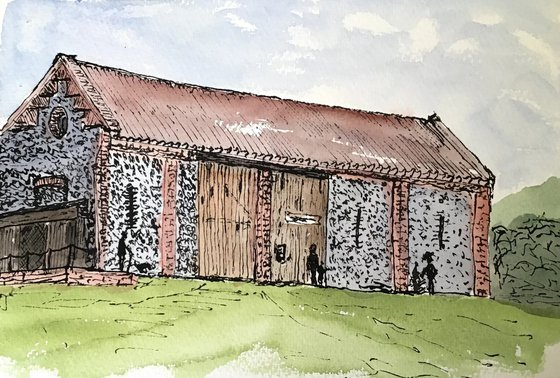 Old Flint Barn - Ink and Watercolour drawing