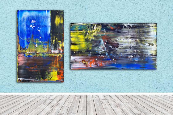 """Soul Mating - Original PMS Abstract Acrylic Painting Diptych On Recycled Wooden Panels - 80"""" x 44"""""""