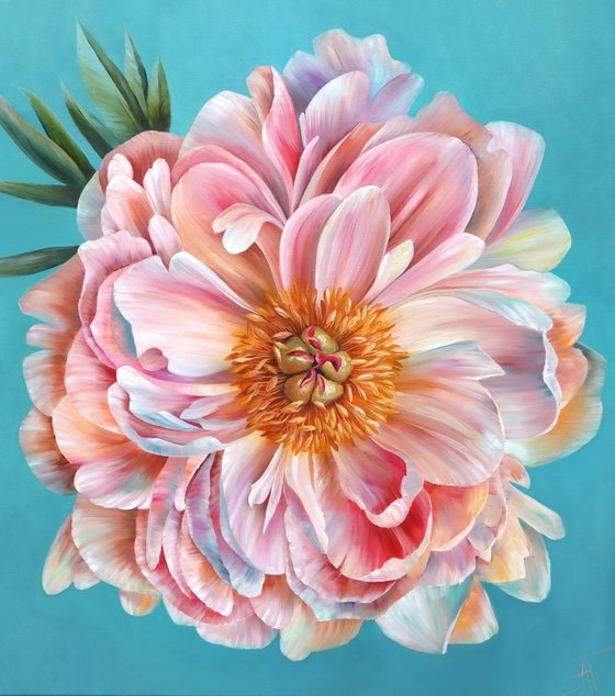 """Pink pearlescent peony """"Coral Sunset"""" on blue mint background. Big interior original oil painting"""