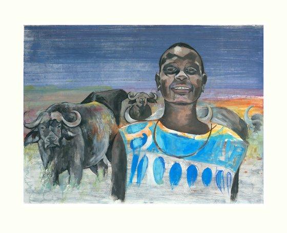 Masai with Buffalo