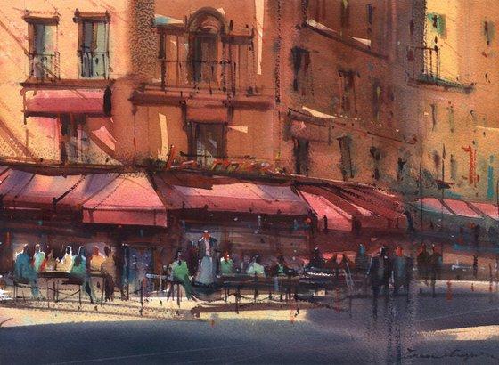 Warm light on Paris cafes
