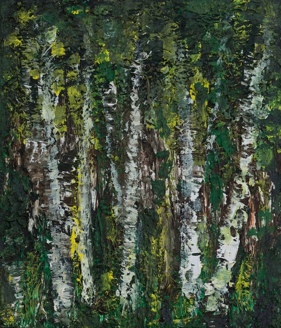 Birch Grove - expressive painting with strong textures