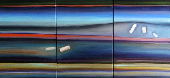 "Blue Horizon _ Large  Abstract_150x70cm (59""x27.5"")"