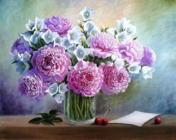 Peonies. Commission Bouquet of peonies