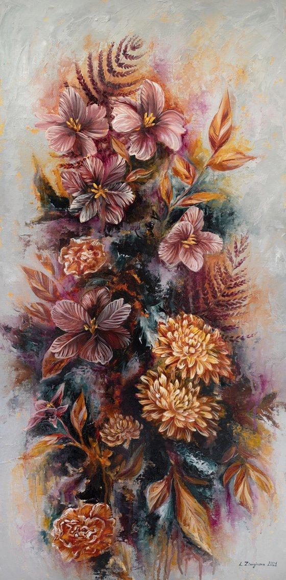 Autumn composition   38*77 cm   Golden flowers