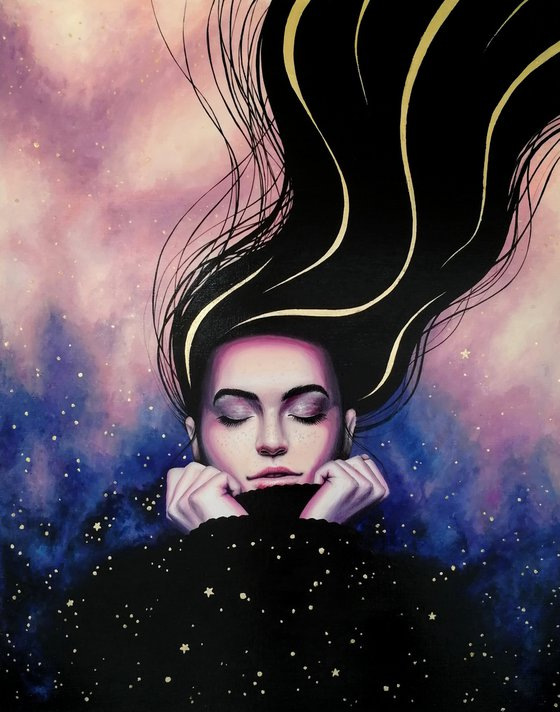 Wind of change   40*50 cm   portrait of a dreaming girl and stars
