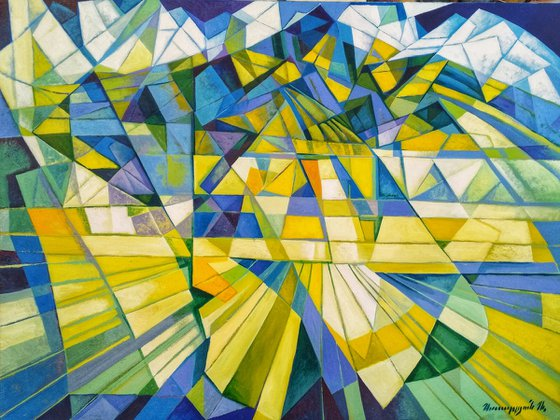 Cubism - Mountains - 3 (60x80cm, cubism, oil painting, ready to hang)