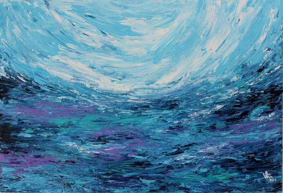 Calming Sea - Abstract Acrylic Painting on Canvas board - Impressionistic - Palette Knife Painting - Special Price