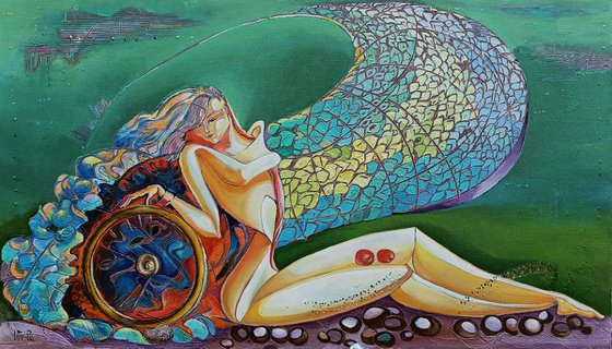 Wheel of life (40x70cm, oil painting, modern art, ready to hang)