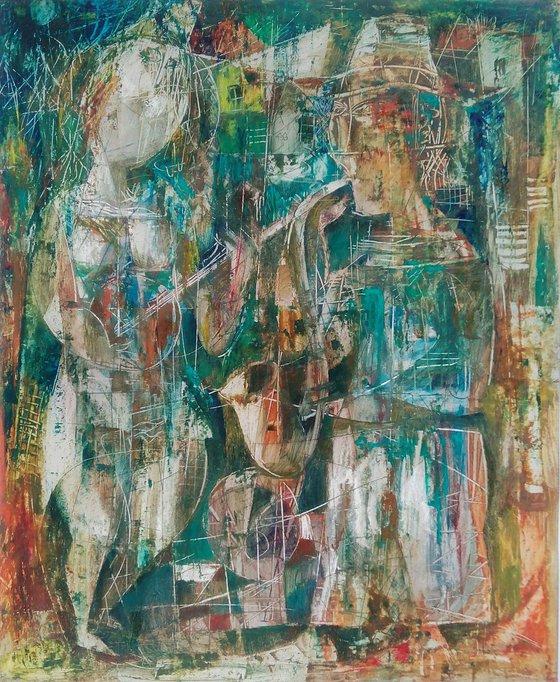 Jazz(50x60cm, mixed-media painting, paper)