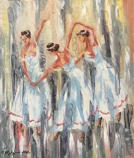 Dancers (60x70cm, oil painting, ready to hang)
