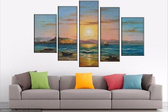 Lake Sevan(135x80cm, oil painting, 5 items 30x50,25x65, 25x80, 25x65, 30x50)