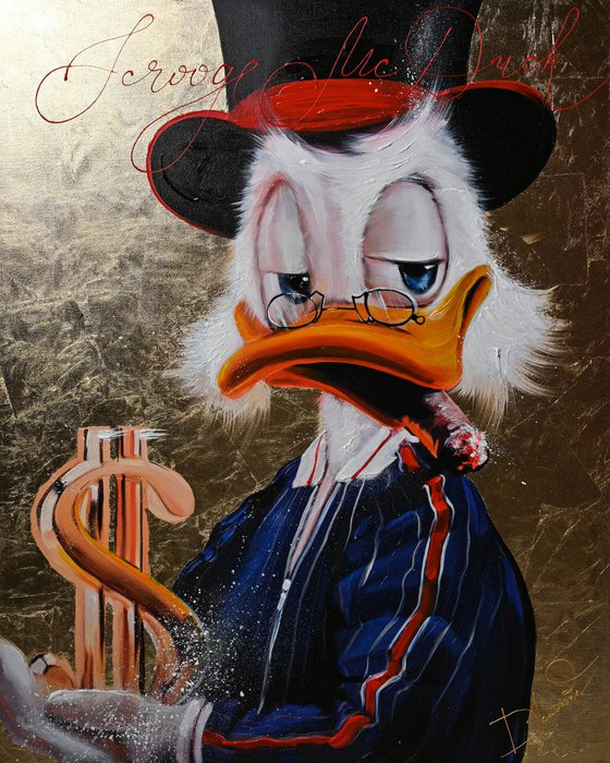Giclee Scrooge McDuck with gold dollar