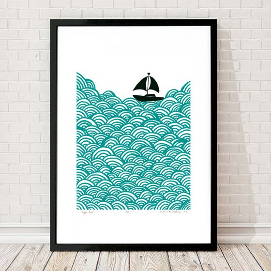 Bigger Boat A2 Size in Green Lagoon - Framed FREE UK Delivery