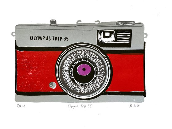 OLYMPUS TRIP 35 [RED] - Limited-edition, vintage camera screenprint