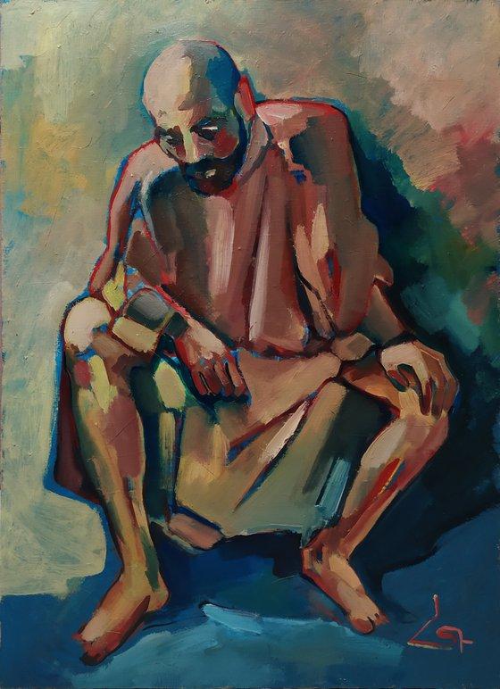Komitas - Armenian musician (60x80cm, oil painting, ready to hang)