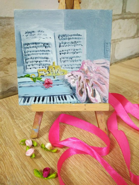 Pointe shoes on the piano keys miniature painting