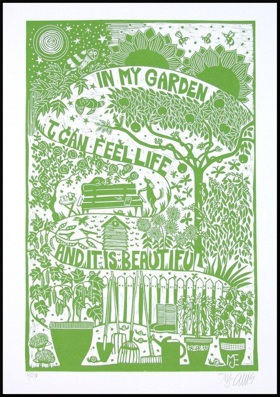 In my Garden, XL green and white linocut