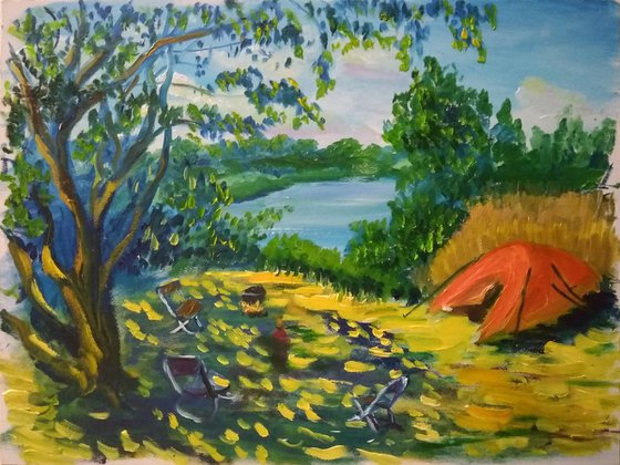 Camping With Friends. Plein Air Oil Painting