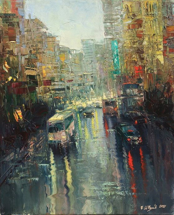Lights of city (50x60cm, oil painting, ready to hang)