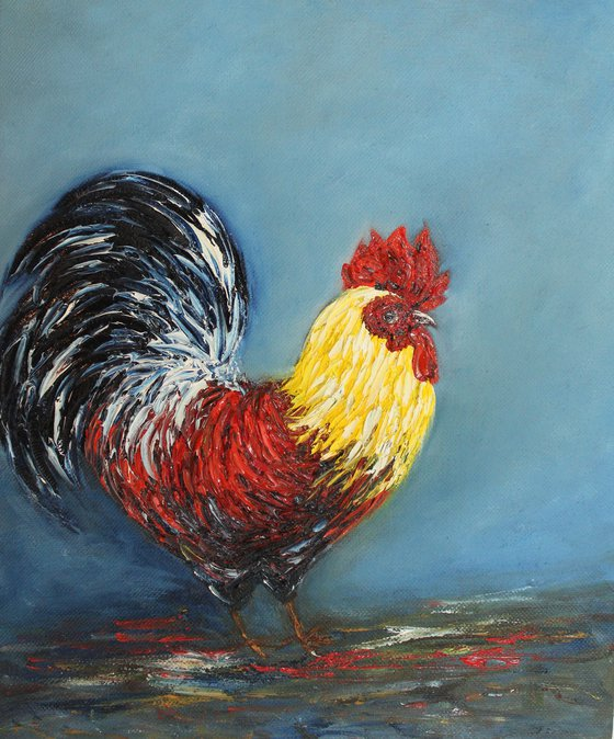 Mr.Roo - Rooster series, Cock painting - Oil painting on canvas board- Bird art - textured bird artwork