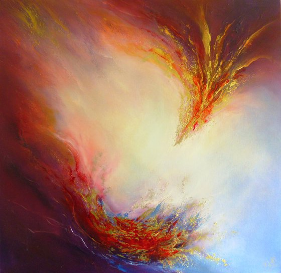 PHOENIX DAWN XIX (Textured abstract oil painting)