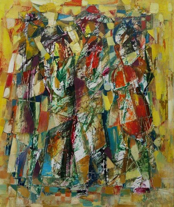 Happy musicians(50x60cm, oil painting, paper)