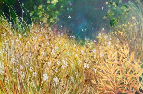 Uberty - Big golden Meadow garden painting