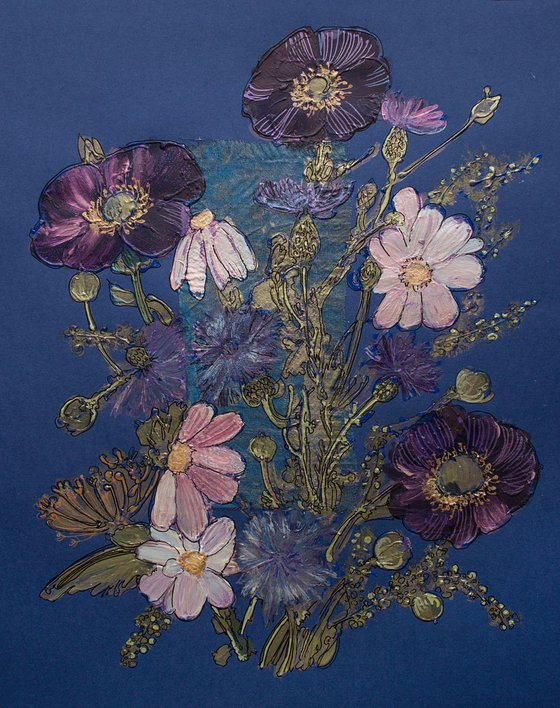 Wild flowers and herbs on blue.