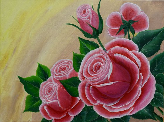 """""""Roses"""" 30 x 40 cm/acrylic painting/ready to hang"""
