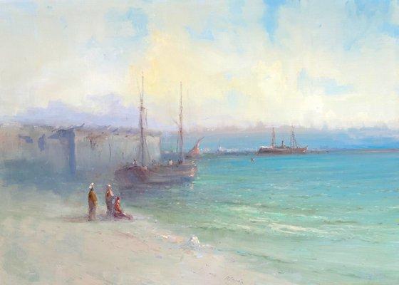 Seashore, Original oil Painting, Handmade artwork, Signed, One of a Kind