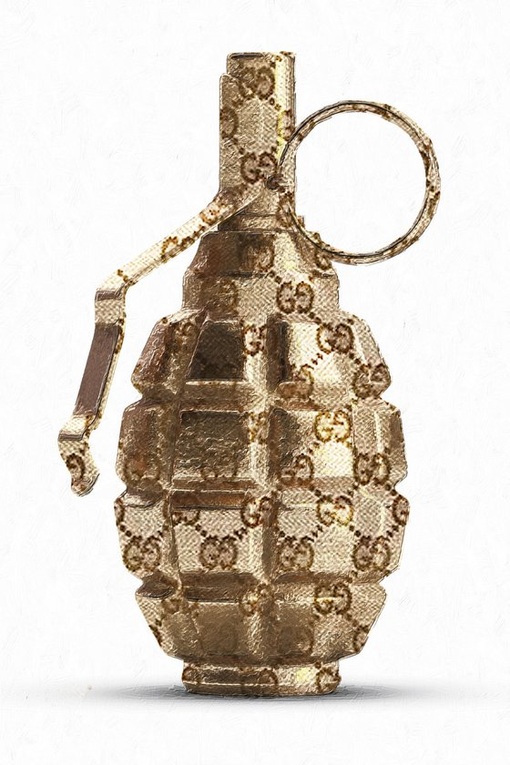 Gucci illustration of gold fragmentation grenade F1 isolated on whi