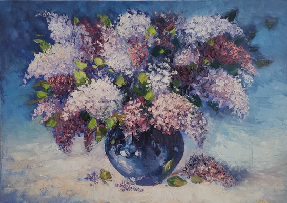 Lilacs (50x70cm, oil painting, ready to hang)